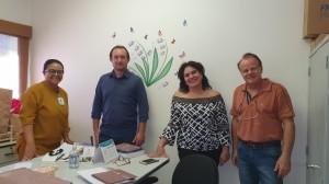 Dra. Marta DR de Moura, Sr. Claudinei, Dra. Sandra Lins e Dr. Paulo R. Margotto (Entrega do livro à Editora e Gráfica Qualidade em 1 de abril de 2020)