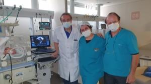 Drs. Jorge Afiune, Sandra Lins e Paulo R. Margotto na UTI Neonatal do Hospital Santa Lúcia em 2/11/2020