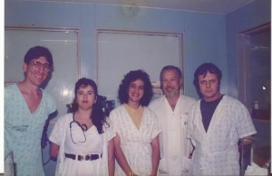 Drs. Jefferson, Mirânea, Ana Lúcia, Tom e Paulo R. Margotto, no Nerçário do HRAS/SES/DF em 1991