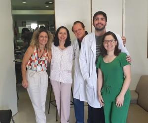 Unidade de Neonatologia o HMIB/SES/DF: Drs. Patrícia Berebe, Joseleide de Castro, Paulo R. Margotto e os R3 de Neonatologia, Dr. Igor e Tatiane (9/9/2019)